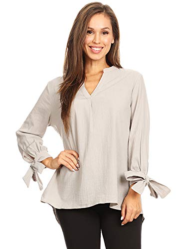 ANNA-KACI Dames V-hals Linnen Blouse Split Tie Mouw Tuniek Tops Casual Office Losse geplooide Shirts