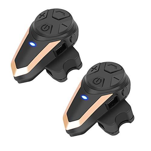 BETOWEY Intercomunicadores Casco Moto Bluetooth Auriculars BT-S3 Comunicadores Comunicacion Interlocutor Inalámbricos Headset con Radio (Paquete 2, Oro)