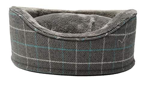Gor Huisdieren Premium Bed Geruit Fleece Buiten- & Faux Bont Kussen Ovaal Puppy Hondenmand (3 kleuren), XL - 80cm, Grey Check