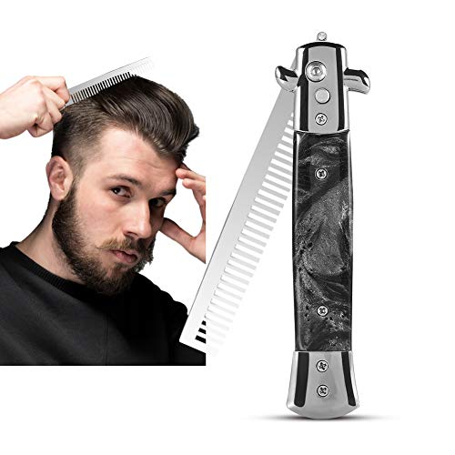 ANGGREK 3 Farben Edelstahl Switchblade Spring Pocket Oil Haarkamm Faltbare Haarstylingbürste(Schwarz)