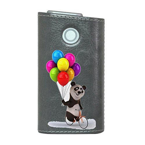 glo グロー グロウ 専用 レザーケース レザーカバー タバコ ケース カバー 合皮 ハードケース カバー 収納 デザイン 革 皮 GRAY グレー アニマル パンダ 風船 カラフル キャラクター 008702