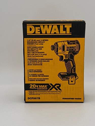 Dewalt DCF887B - Avvitatore a percussione senza fili, a 3 velocità, con batteria agli ioni di litio da 20 V Max XR, a 3 velocità, da 0,6 cm (solo strumento)