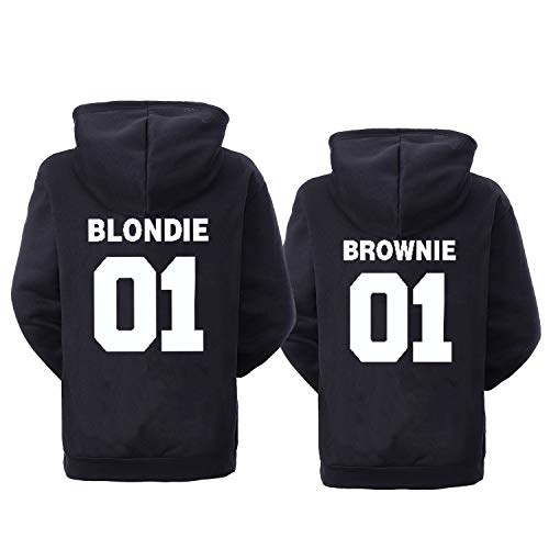 Double Fashion Best Friend Hoodies for 2 Matching BFF Hoodies Pullover Sweatshirt for 2 Teen Girls Black