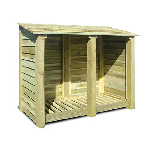 Rutland County Garden Furniture Cottesmore 4ft Tall Log Store/Garden Storage Heavy Duty Pressure Treated Timber With Forward Sloping Roof (Solid Log Store Only, Light Green)