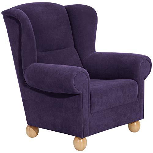 Max Winzer® Ohrensessel Monarch, violett (lila), Veloursstoff, romantisch, Landhaus, 93 x 87 x 103 cm