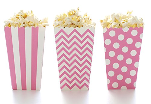 Hot Pink Popcorn Boxes & Black Label Chalkboard Vinyl Stickers (36 Pack) - Wedding Favor Boxes, Party Candy Boxes, Use Decal Tag to Create Names on Party Favors, Mini Movie Theatre Popcorn Tubs
