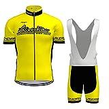 Hengxin Maillot Ciclismo Corto De Verano para Hombre, Ropa Culote Conjunto Traje Culotte Deportivo con 3D Almohadilla De Gel para Bicicleta MTB Ciclista Bici (Amarillo, S)