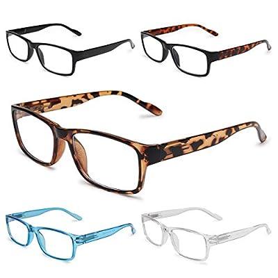 GAOYE 5-Pack Reading Glasses Blue Light Blocking with Spring Hinge,Readers for Women Men Anti Glare Filter Lightweight Eyeglasses (5-Pack, 2.5)