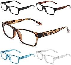 Gaoye 5-Pack Reading Glasses Blue Light Blocking,Spring Hinge Readers for Women Men Anti Glare Filter Lightweight Eyeglasses (#5-Pack Mix Color, 0.0)