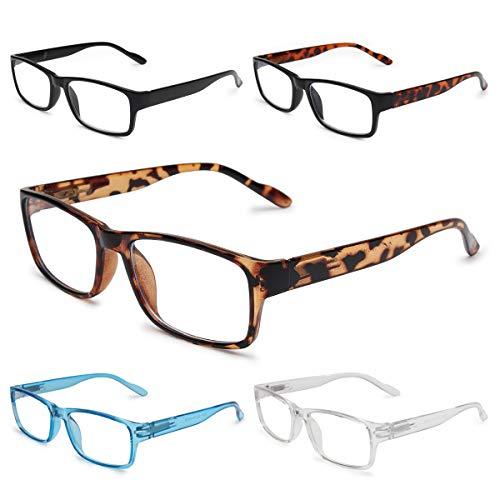 Gaoye 5-Pack Reading Glasses Blue Light Blocking,Spring Hinge Readers for Women Men Anti Glare Filter Lightweight Eyeglasses (#5-Pack Mix Color, 1.5)