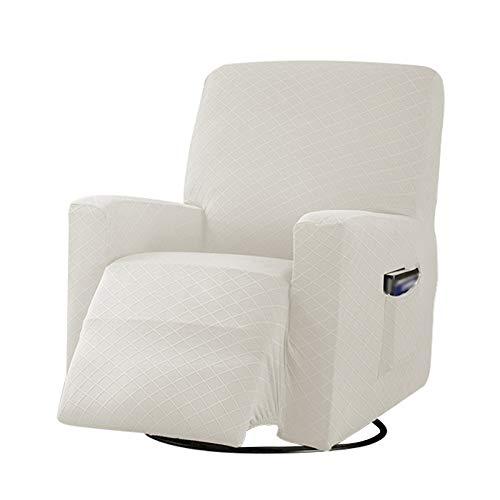 BEDSETS 1 funda elástica para sillón reclinable de tela jacquard de licra para sofá reclinable y protector de sofá elástico para muebles de alta elasticidad (blanco)