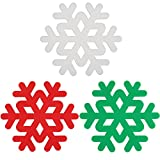ME.FAN 3 Set Silicone Trivet Snowflake Carved Trivet Mat - Insulated Flexible Durable Non Slip Coasters(White-Green-Red)