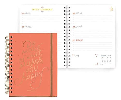 Miquelrius - Agenda Escolar 2021-2022, Tamaño Plus 15 x 21.3 cm, Semana Vista, Happy Letters Do More, Idioma Español