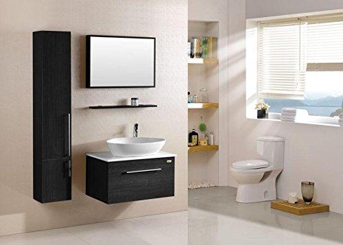 CG Badmöbel Wenge 'komplett mit Waschbecken Wasserhahn Spiegel und Schrank L80