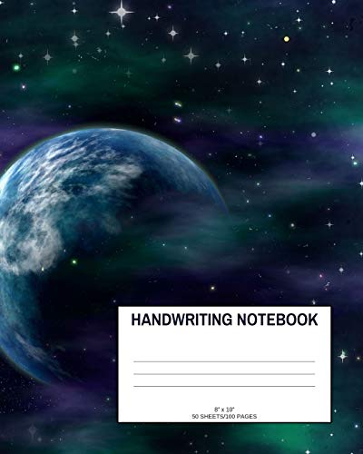 """Handwriting Notebook: Galaxy; 50 sheets/100 pages; 8"""" x 10"""""""