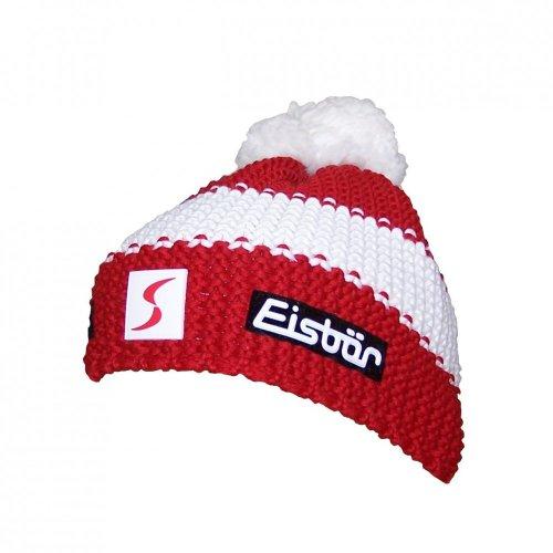 Eisbär Star Neon Pompon Austria ÖSV Skipool Damen und Herren Wintermütze, Farbe:Rot, Größe:One Size
