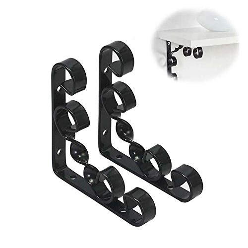 Plank beugel, 2 smeedijzer Triangle Bracket Retro Patroon Haakse vaste beugel Storage Support Frame Muur Bearing Bearing Bracket Meubelen Accessoires,Black,10cm