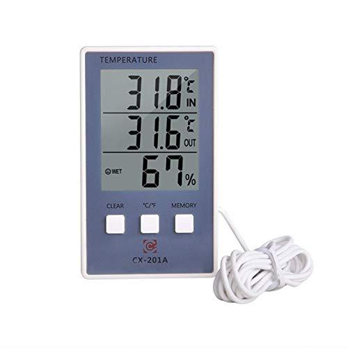 BSJZ Termómetro Digital higrómetro, higrómetro de Temperatura Interior y Exterior, Pantalla LCD de Instrumentos de monitoreo de estación meteorológica, Adecuado para Garaje, i