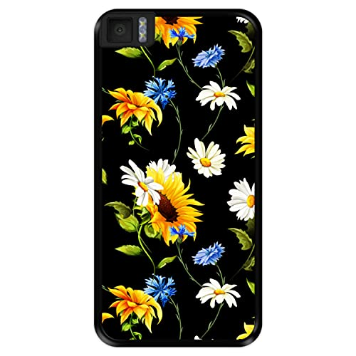 Hapdey Funda Negra para [ Bq Aquaris M4.5 - A4.5 ] diseño [ Patrón Floral, Flores Multicolores 2 ] Carcasa Silicona Flexible TPU