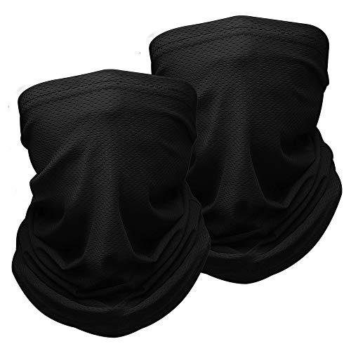 Genneric Half Bandana Dust Shield – Pasamontañas transpirable para deportes de correr, ciclismo, bufanda de cuello para hombres y mujeres, paquete de 2, negro