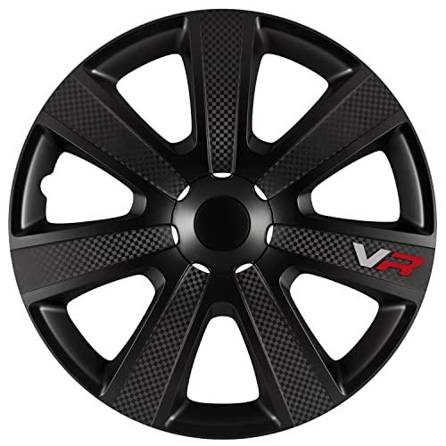check price autostyle vr black hubcap set vr black carbon look logo car wheel trims set of 4. Black Bedroom Furniture Sets. Home Design Ideas