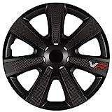 AUTOSTYLE PP 5154B Juego de 4 Tapacubos VR 14 Pulgadas Negro/Look Carbono/Logo