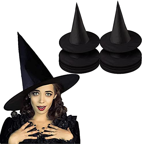 8 Sombrero Negro de Bruja de Halloween, Sombrero de Mago para Adultos, Decoración de Fiesta de Disfraces, Carnaval, Cosplay, 8 Piezas (JS-213-Negro, Adultos)