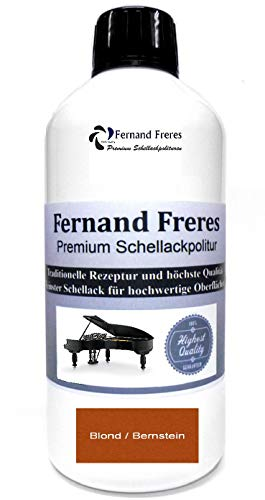 Schellackpolitur 500ml. Fernand Freres BERNSTEIN - BLOND Klavierlack Hochglanz French Politur Schellack gebrauchsfertig Schelllack