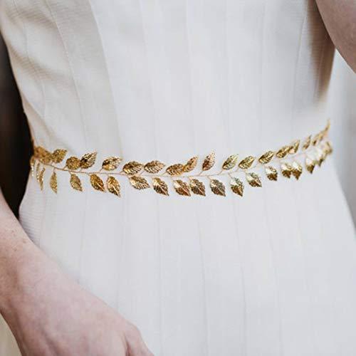 Simsly - Cinturón nupcial con diseño de cadena de hojas, para novia y damas de honor dorado dorado