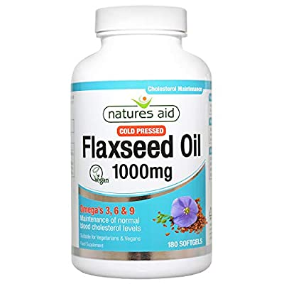 Natures Aid Flaxseed Oil, 1000 mg, 180 Softgel Capsules (Cold Pressed Flaxseed Oil, Omega 3, 6 and 9 for the Maintenance of Normal Cholesterol Levels, Made in the UK, Vegan Society Approved)