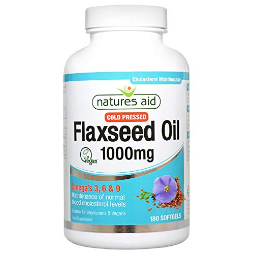 Natures Aid 1000mg Cold Pressed Flaxseed Oil Capsules - Pack of 180 Capsules