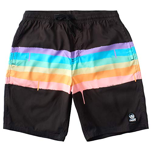 Neff Herren Pride Party Shorts Boardshorts, schwarz/Regenbogen, X-Large