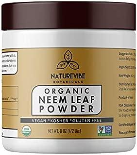 Naturevibe Botanicals USDA Organic Neem Leaf Powder 8 Ounces - Azadirachta Indica - 100% Pure & Natural