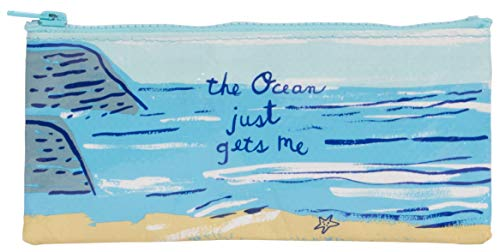 The Ocean Just Gets Me, Blue Q Pencil Case. Hefty zipper, sturdy and easy-to-wipe-clean, made from 95% recycled material, measures 4.25'h x 8.5'w