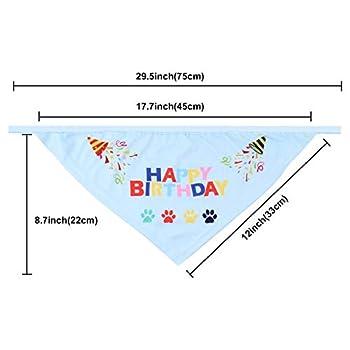 Vovkvic Bandana Joyeux Anniversaire Chien, Écharpes Triangulaires avec Joli Chapeau de Fête, Ensemble de Décorations pour Cadeau d'anniversaire pour Animal de Compagnie