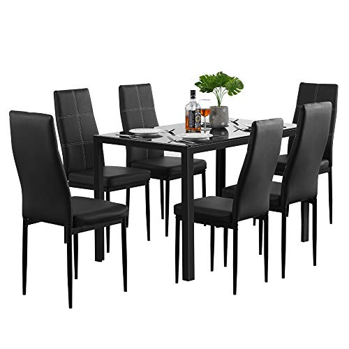 Modern 7 Pieces Dining Table Set Glass Top Dining Table and Chairs Set