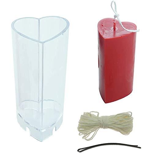 HONGTAI 5x10.8CM Herz-geformte Kerze Herstellung Von Formen Fester Kunststoff-Kerze-Form 10M Wicks Und 1 Wick Clips Crafts Accessorie