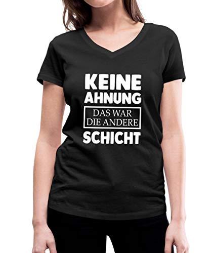 Keine Ahnung Das War Die Andere Schicht Lustig Frauen Bio-T-Shirt mit V-Ausschnitt von Stanley & Stella, M, Schwarz