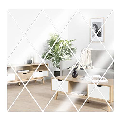 Anladia 17 Stück Spiegelfliesen Wandspiegel Selbstklebend Spiegel Acryl Wandaufkleber für Badezimmer, Küche, Wohnzimmer