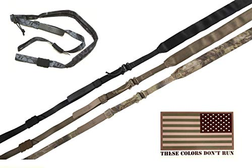 Viking Tactics - Padded 2 Point Sling - Upgrade Model - Includes American Flag Decal (Black)