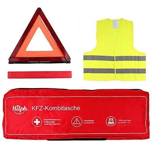 Hilph®3 in 1 Auto Notfall Kit - Euro-Pannenhilfe-Autosicherheits-Kit mit Warndreieck, Warnweste und Auto-Erste-Hilfe-Zubehör