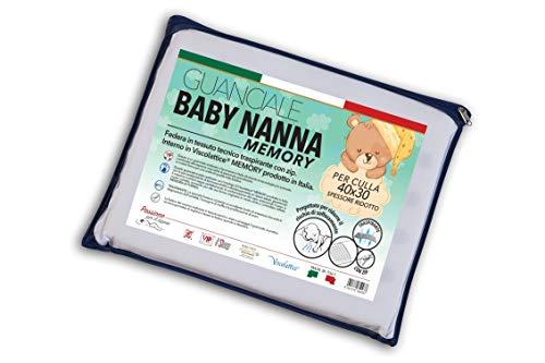 V.I.P. VERY IMPORTANT PILLOW V.I.P. Cuscino Baby Nanna Memory Culla, Guanciale 40 x 30 cm, Made in Italy, Bianco, 1 unità (Confezione da 1)