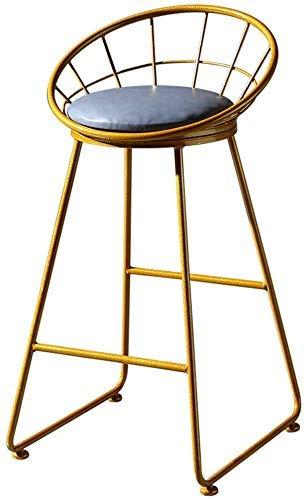 Productos para el hogar Taburetes de bar Taburete de bar de metal de hierro forjado para exteriores Taburete alto nórdico con respaldo curvo Proceso de horneado a alta temperatura + Cojín de cuero