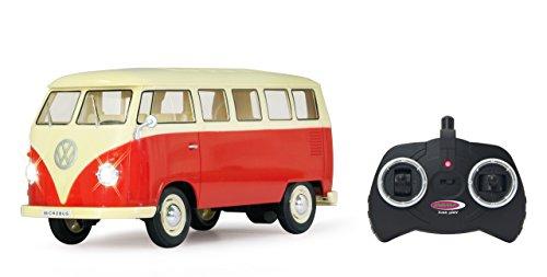 Jamara 405119 - VW T1 Classic bus 1:16 1963 2-kanaals 2,4 GHz - LED, gedetailleerde binnenruimte, voertuigdetails in chroom: ruitenwissers, wieldoppen, buitenspiegel, deurgrepen, koplamphouder