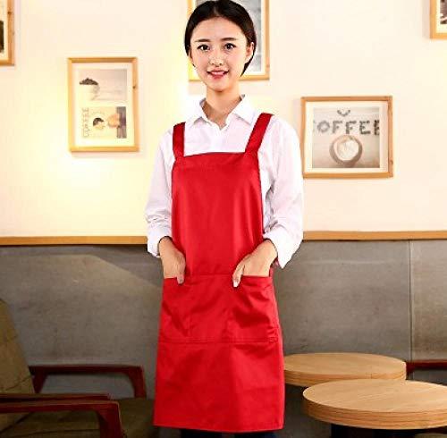 JJFU kookschort keuken koffie melk thee nagellak katoenen schort vrouwen druk dame Age-Red Women_Fit voor 150-170 cm