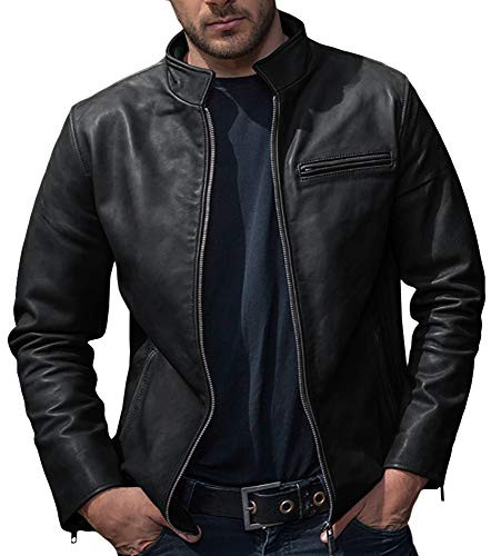 Pengfei Men's Faux Leather Jacket Stand Collar Pu Leather Jacket Motorcycle Bomber Jacket