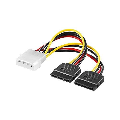Goobay 68524 PC Y Stromkabel/Stromadapter; 5.25 Stecker zu 2x SATA, HDD / 5,25 Zoll-Stecker (4-Pin) > 2x SATA-Standard Stecker