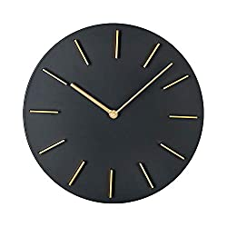 MOTINI Silent Wall Clock,11 Inch Round Modern Quartz Battery Operated Wall Clocks Non-Ticking Easy to Read Wall Decoration for Bedroom Home Office,Black