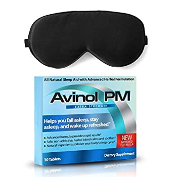 Avinol PM Extra Strength and Dream Elements Sleep Mask   All-in-One Natural Sleep Aid  30 ct  - 100% Pure Mulberry Silk Eye Mask  with Foam Ear Plugs & Anti Snoring Nose Clip