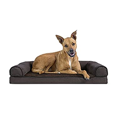 FurHaven Orthopedic Faux Fleece & Chenille Sofa-Style Couch Pet Bed for Dogs and Cats, Coffee, Large
